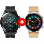Pachet PROMO HUAWEI: Watch GT2, 46mm, Matte Black + Watch GT2 Diana B19V, 42mm, Gravel Biege